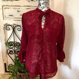 Abercrombie & Fitch red sheer tie neck blouse